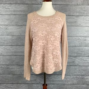 Anthro Knitted & Knotted Pink Lacy Sweater Size L